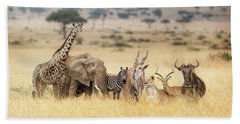 African Safari Animals In Dreamy Kenya Scene Beach Towel