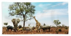 African Safari Animals Meeting Together Around Tree Beach Sheet
