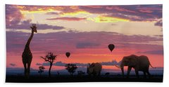 African Safari Colorful Sunrise With Animals Beach Towel