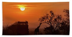 African Safari Sunset Silhouette Beach Sheet