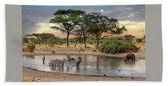 African Safari Wildlife At The Waterhole Beach Towel