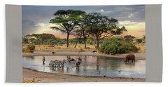 African Safari Wildlife At The Waterhole Beach Sheet