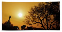 African Sunset Silhouette With Copy Space Beach Towel