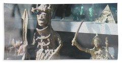 African Warrior Figurine Beach Sheet