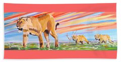 African Lion And Cubs Beach Towel