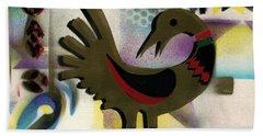 Afro - Aesthetic - K  - Sankofa Bird  And Adinkra Symbol For Abundance Beach Towel by Everett Spruill