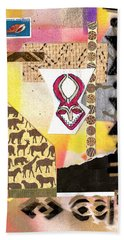 Afro Collage - F Beach Sheet by Everett Spruill