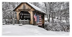 After A Winter Snow Storm Cilleyville Covered Bridge  Beach Towel
