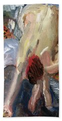 Beach Sheet featuring the painting After Degas The Bath I by Michael Helfen