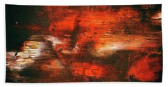 After Midnight - Black Orange And White Contemporary Abstract Art Beach Towel