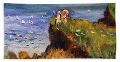 After Monet Somewhere On The Cliffs Of Normandie Beach Towel