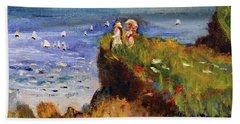 After Monet Somewhere On The Cliffs Of Normandie Beach Sheet by Michael Helfen