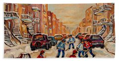 Beach Sheet featuring the painting After School Hockey Game by Carole Spandau