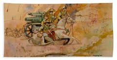 Beach Sheet featuring the painting After The Charge by Ray Agius
