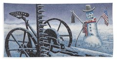 After The Harvest Snowman Beach Towel by John Stephens