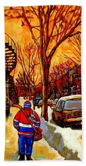 After The Hockey Game A Winter Walk At Sundown Montreal City Scene Painting  By Carole Spandau Beach Towel