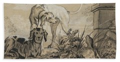 After The Hunt - Two Hounds Beside A Boar's Head Beach Towel