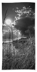 Afternoon At A Sanibel Dune In Blank And White Beach Towel by Chrystal Mimbs