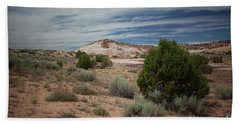 Afternoon Clouds Over White Pocket Beach Towel by Anne Rodkin