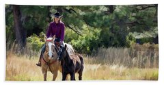 Afternoon Ride In The Sun - Cowgirl Riding Palomino Horse With Foal Beach Sheet