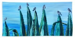 Agave With Sparrows Beach Towel by Valerie Ornstein