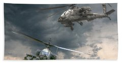 Ah-64 Apache Attack Helicopter In Flight Beach Towel