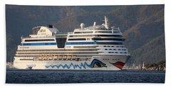 Aida Stella Cruise Ship Leaving Marmaris Beach Towel