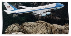 Air Force One Flying Over Mount Rushmore Beach Towel by War Is Hell Store