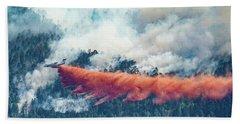 Air Tanker On Crow Peak Fire Beach Sheet