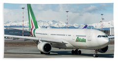 Airbus A330 Alitalia With New Livery  Beach Towel