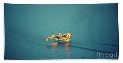 Aircraft Firefighter Take Water In The Sea Beach Towel