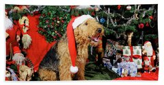 Airedale Terrier Dressed As Santa-claus Beach Towel
