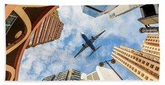 Airplane Above City Beach Sheet