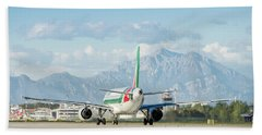 Airplane And Mountains Beach Towel