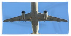 Airplane Isolated In The Sky Beach Sheet