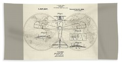 Airplane Patent Collage Beach Towel by Delphimages Photo Creations
