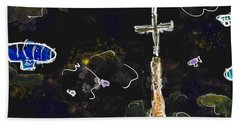 Airships At Night Beach Towel