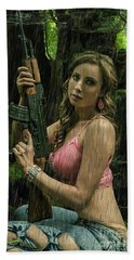 Ak47 In The Rain Beach Towel