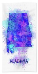 Alabama Map Watercolor 2 Beach Towel