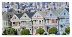 Beach Towel featuring the photograph Alamo Square by Matthew Bamberg