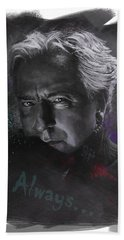 Beach Sheet featuring the drawing Alan Rickman by Julia Art