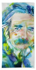 Beach Sheet featuring the painting Alan Watts - Watercolor Portrait.4 by Fabrizio Cassetta