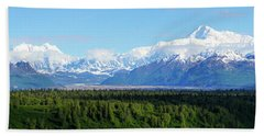 Alaskan Denali Mountain Range Beach Sheet