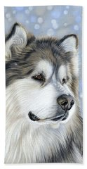 Beach Towel featuring the mixed media Alaskan Malamute by Donna Mulley