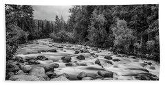 Alaskan Stream In Black And White Beach Towel