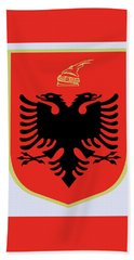 Beach Sheet featuring the drawing Albania Coat Of Arms by Movie Poster Prints