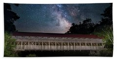 Albany Covered Bridge Under The Milky Way Beach Sheet