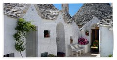 Alberobello Courtyard With Trulli Beach Sheet
