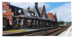 Albert Train Station, France Beach Towel by Therese Alcorn