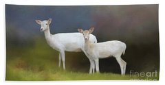 Beach Towel featuring the photograph Albino Deer by Marion Johnson